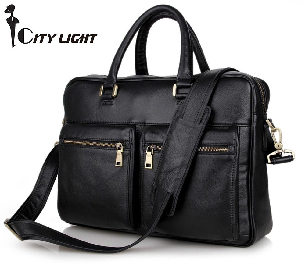 New arrival 2016 Brand Guarantee Genuine Cow Leather Mens Briefcase Handbag Men Business Messenger Bag 7270<br><br>Aliexpress