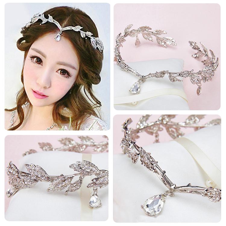 Vintage Crystal Bridal Headpiece Chain Wedding Rhinestone Leaf Tiara Crown Headband Frontlet Bridesmaid Hair Jewelry(China (Mainland))