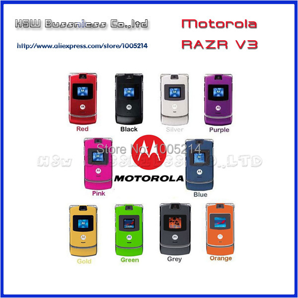 100% GOOD quality Refurbished Original Motorola Razr V3 mobile phone one year warranty +free gifts(China (Mainland))