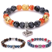2016 Natural Stone Bead Buddha Bracelets with Heart For Women and Men Jewelry Natural Stone Bracelets & Bangles Pulseras DM#6(China (Mainland))