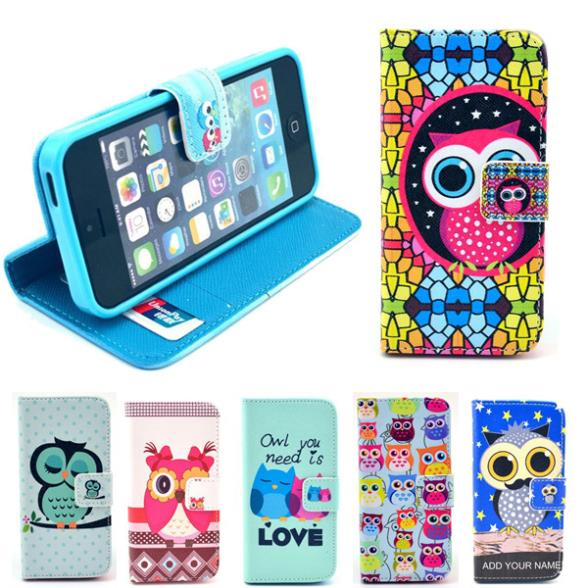 Wallet Style Flip Case Cute OWL Cartoon Print iphone 4 4S 4G Stand PU Leather Cell Phone Protective Bag Cover - UTOPER Official Store store