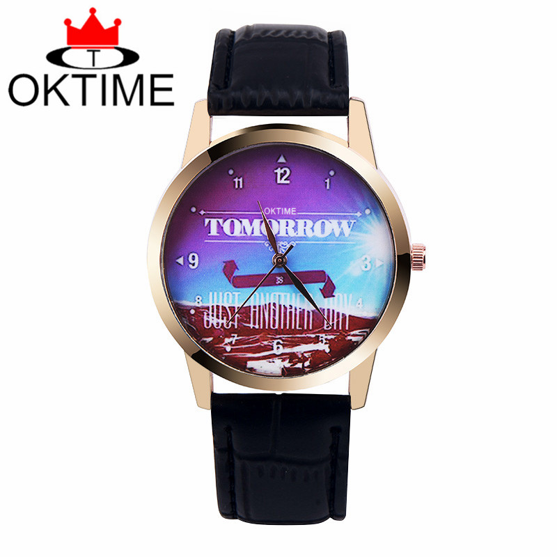 Brand OKTIME 1pc/lot, Tomorrow Is Just Another Day Design Watch, Japan Movement Leather Belt For Ladies Women Fashion Watches(China (Mainland))