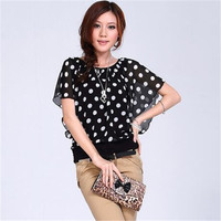 Women Blouse 2016 New Summer Batwing Sleeve Chiffon Blouses Casual Ruffles Plus Size Blouse Polka Dot Loose Shirt  Women Tops
