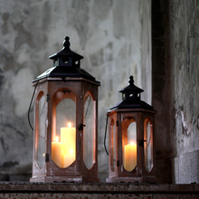 wood + metal retro fashion classical windproof mousse home antique candle holder hurricane lantern hexagon old accent 654A (China (Mainland))