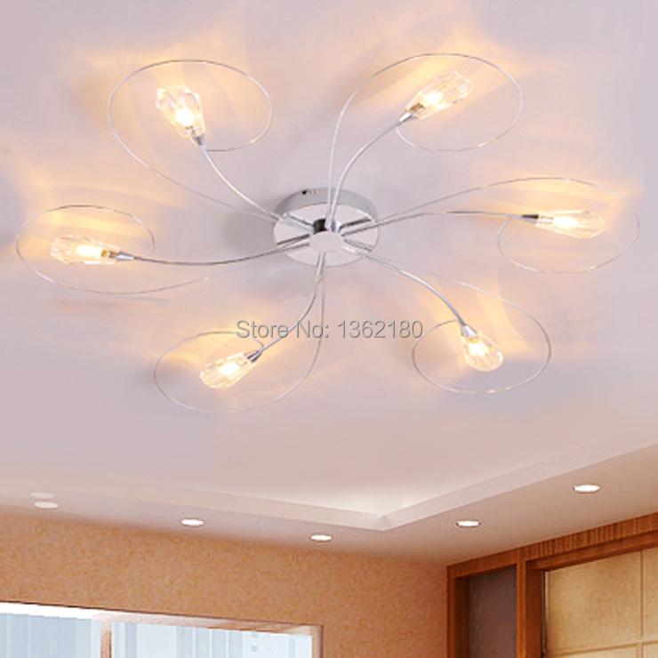 New modern crystal shade 6 lights ceiling lamp chandelier for New modern lighting