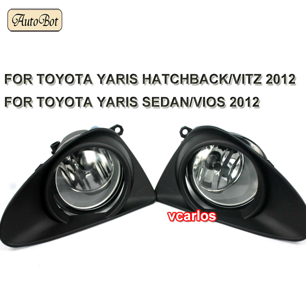 Fog lights Lamp TOYOTA YARIS HATCHBACK VITZ 2012 + TOYOTA YARIS SEDAN / VIOS 2012 Clear Lens PAIR SET + Wiring Kit fog light set(China (Mainland))