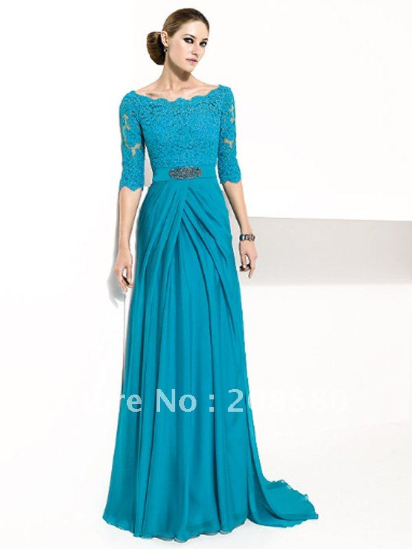 Evening Dress Lace Sleeves Lace Dresses Half Sleeve