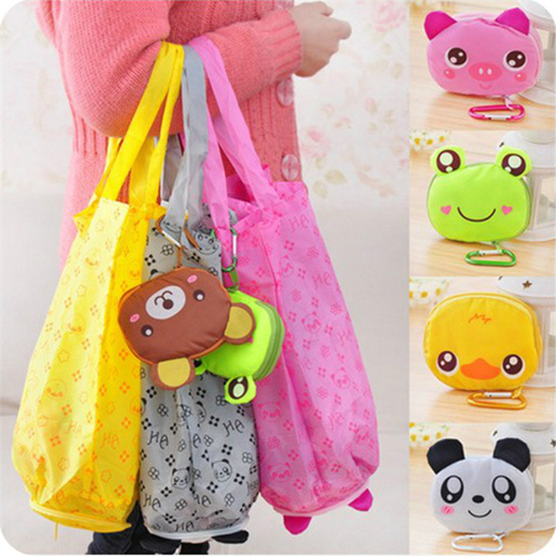 N301-A 2015 Hot sales Fold Portable Cute Animal Cartoon Reusable cartoon Handy Shopping Bag waterproof durable polyester<br><br>Aliexpress