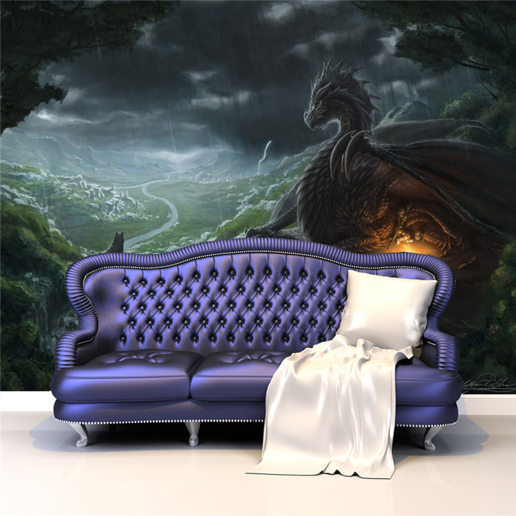 Buy dragon and wolf photo wallpaper for Dragon mural wallpaper