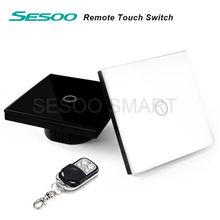 EU/UK Standard SESOO Remote Control Switch 1 Gang 1 Way ,RF433 Smart Wall Switch, Wireless remote control touch light switch(China (Mainland))