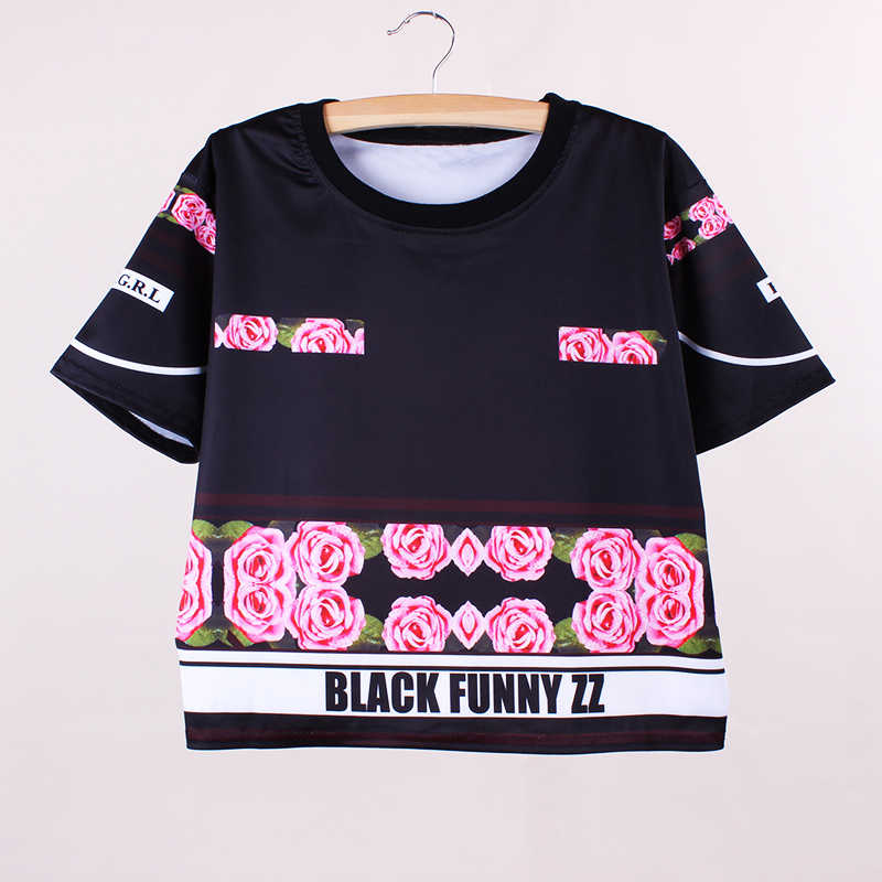 free shipping fashion women t-shirts hip hop style summer dress flower print ladies top tees 2016 new arrival clothing wholesale(China (Mainland))