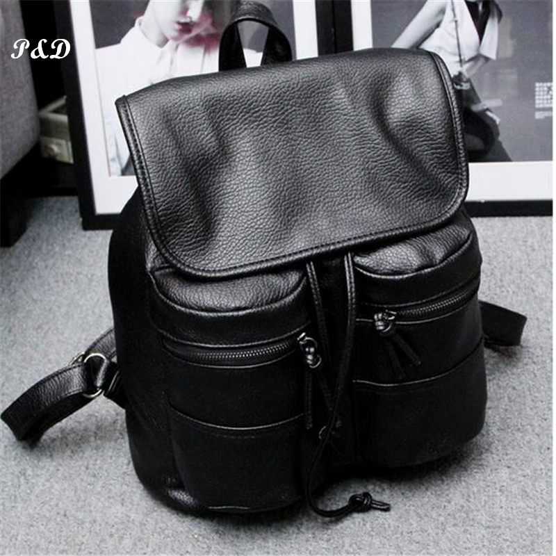 High quality women backpack preppy style PU leather school bags retro vintage backpack students school bag Black backpack female