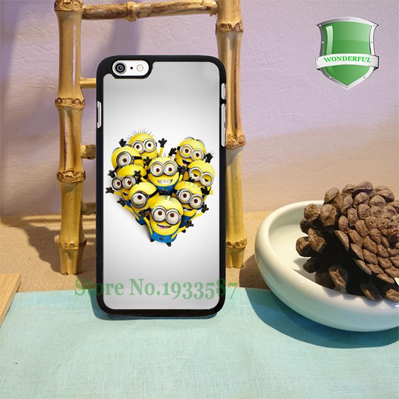 Minions in Heart Shape original black cell phone case for iphone 6 6 plus 6s 6splus 5 5s 5c 4 4s W-1862(China (Mainland))