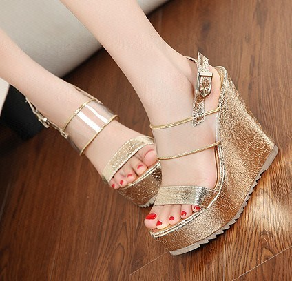 2013 summer luxury female wedges single shoes ultra high heels sandals platform japanned leather golden silver - Shenzhen Royal E-Commerce Co.,Ltd 20 store