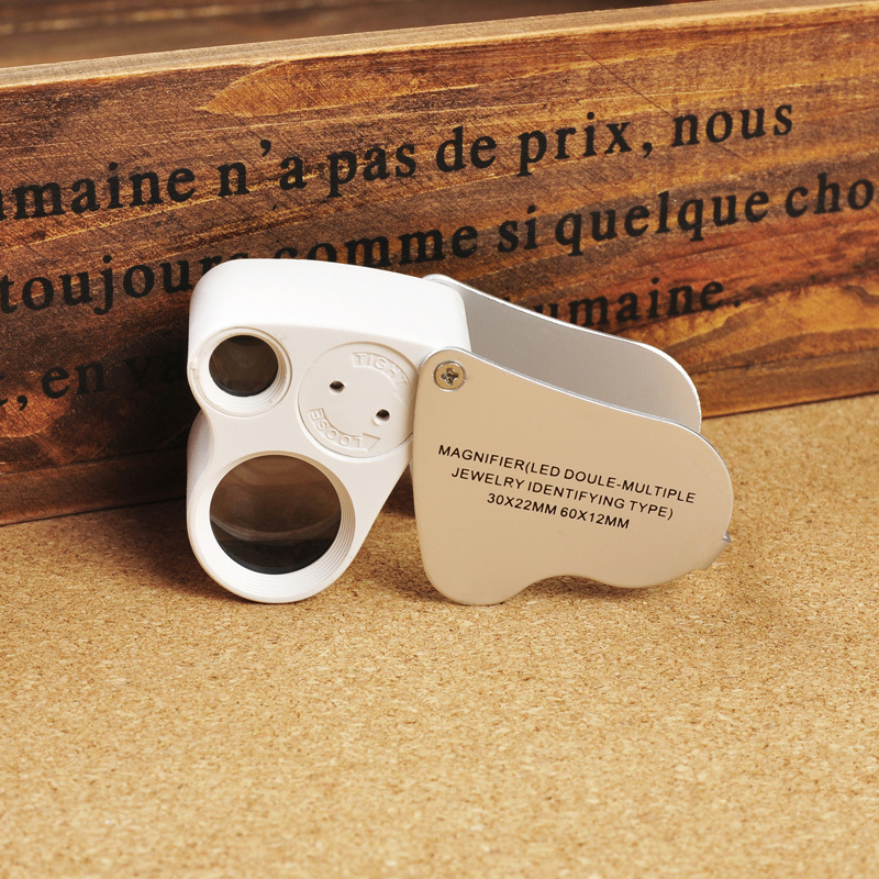 NO.9889 Jewelry HD Optical TWO Lenses Magnifier LED Light 30x 60x Magnification Lupa Appraisal Mini Magnifying Glass - Angela Foreign Trade CO.,LTD store