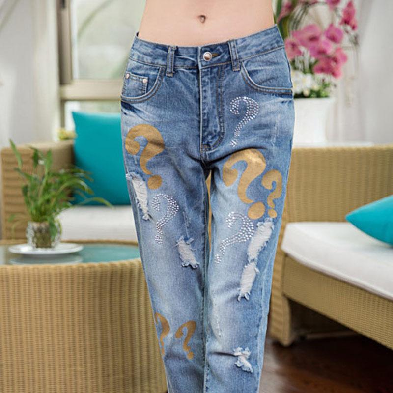 2015 New Brand High Waist Ripped Super Skinny Jeans Women Fashion 100% Cotton Pencil Casual Denim Pants L686 - Hello madam store