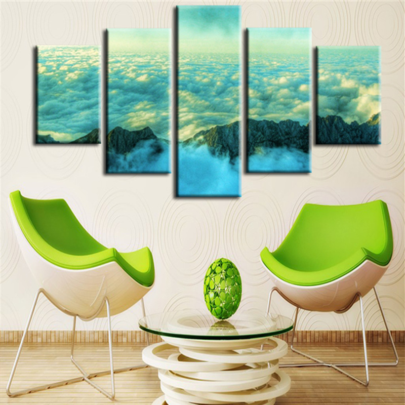 Frameless 5 Planes Picture On Canvas Wall Painting Abstract Cloud Landscape Print Paints Unique Gift Paint Home Decorative(China (Mainland))