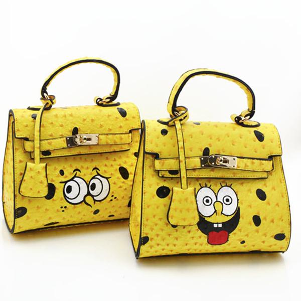 2014 New arrive cute baby tongue spoof SpongeBob SquarePants sisters sisters tote bag cartoon Ostrich grain women Platinum bag(China (Mainland))
