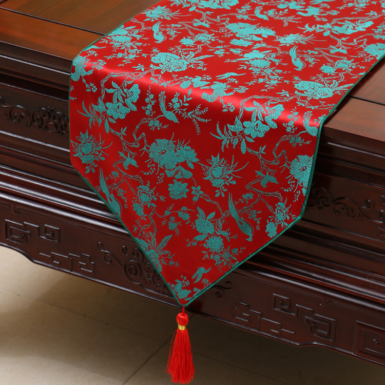 Handicrafts Floral Pattern Table Runner Pretty China style High Quality Tapestry Satin Home Decoration Table Cloth Bed Runners(China (Mainland))