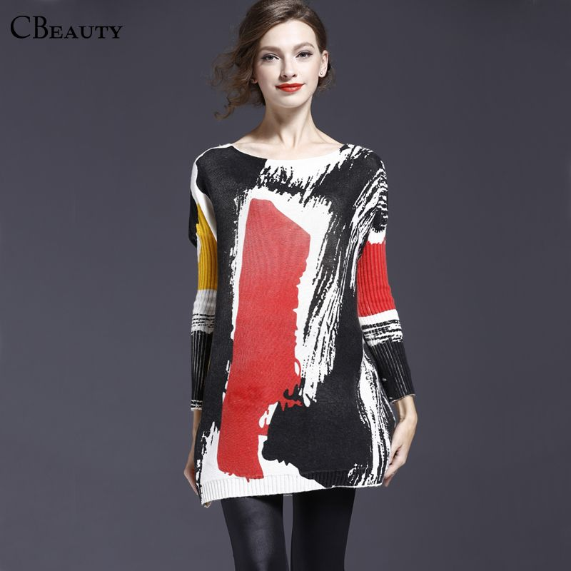 High Quality Women Knitted Rabbit Fur Print Loose Plus Size Sweaters And Pullovers Jumper Pull Femme Fashion 2015 Autumn WinterОдежда и ак�е��уары<br><br><br>Aliexpress