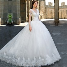 Buy XIANGYIHUI Elegant Weeding Dress 2017 White Ivory V-neck Lace Appliques Court Train Ball Gown Wedding Dresses Bride Gowns for $184.09 in AliExpress store