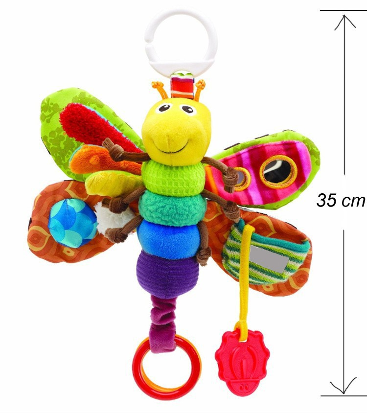 Musical Inchworm Multifunctional Toy Butterfly Plush toys Wrist Rattles Baby Bed Toys Baby Animal Toy 0-12 Months(China (Mainland))