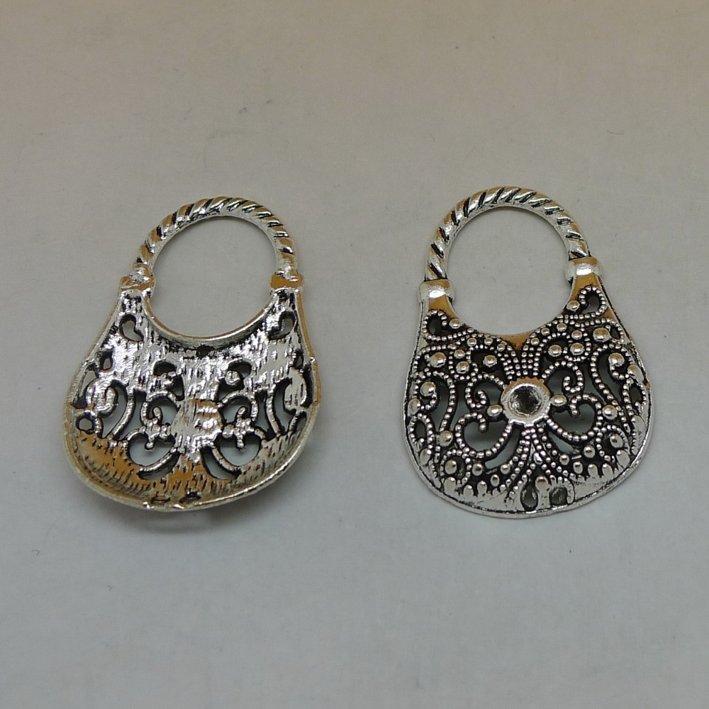 Free shipping 4pcs Tote tibetan silver fashion love flower hollow Handbags for women charm pendant 22*34mm for jewelry(China (Mainland))