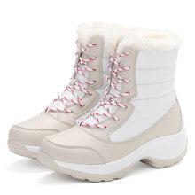 Grande taille hiver femmes bottes de neige hiver femmes garder au chaud chaussures haute aide femme mi-mollet plate-forme bottes 2018 femme bateaux(China)
