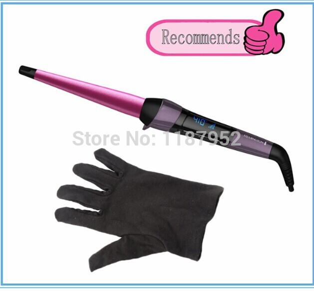 Free Shipping Magic Hair Roller Remington Curling Wand LCD Ceramic Tapered Barrel Conical Cone 1/2'' to 1'' Curling Iron Glove(China (Mainland))