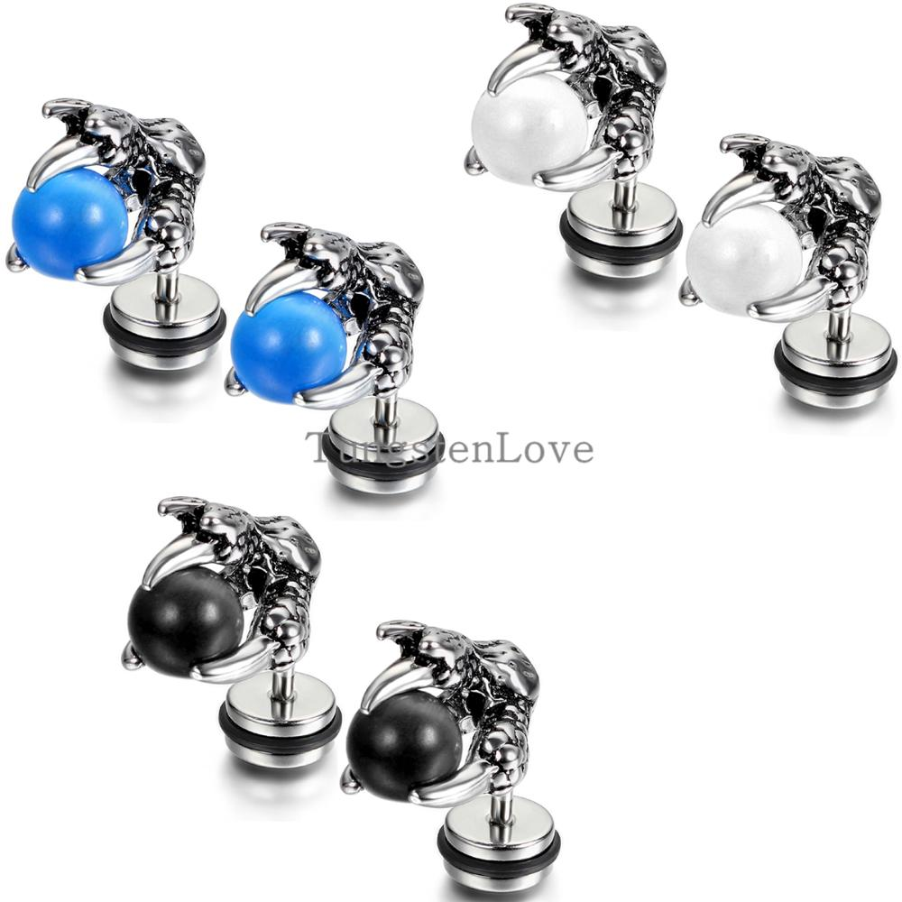 NEW Vintage Stud earrings for women Fashion accessories for men punk Dragon claw earrings with Glass Blue/white/black 3 Colors(China (Mainland))