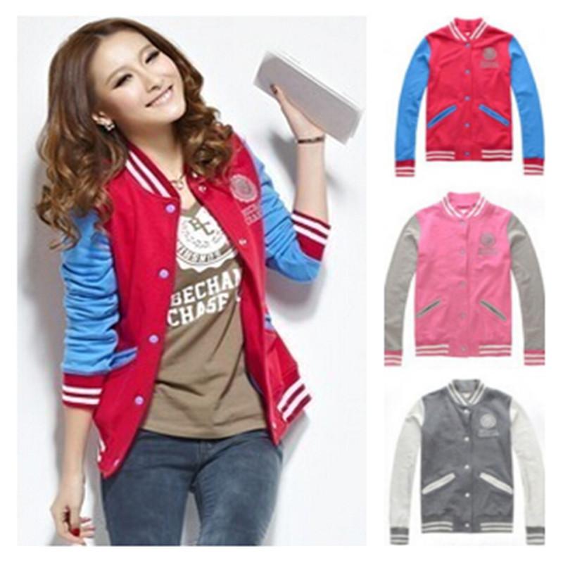 2016 New Fashion Plus Size Baseball Jersey Jackets Women's Long-Sleeve Hoodies College Style Autumn Coats Sport Suit(China (Mainland))