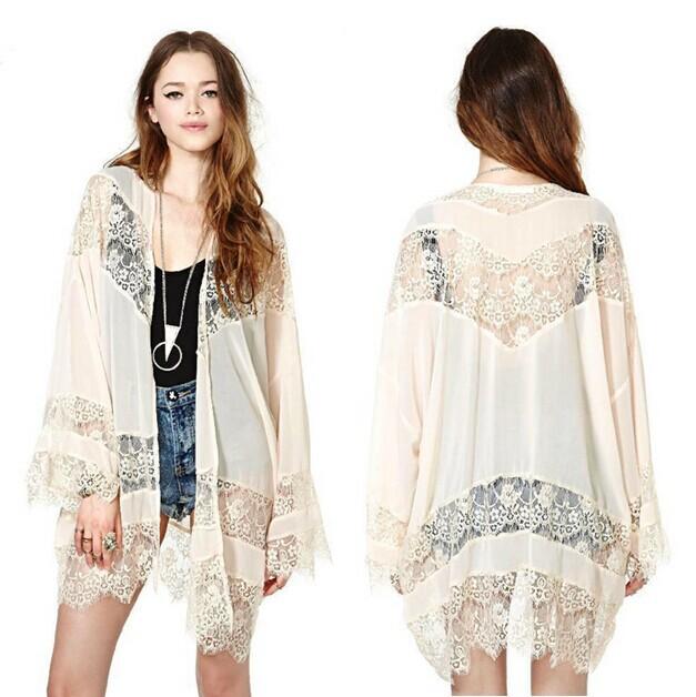 Summer Autumn Fashion Women's Long Sleeve Hollow Lace Patchwork Chiffon Kimono Cardigans Thin Jacket Coat Outerwear Cover-Ups(China (Mainland))