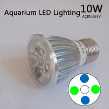 10W Aquarium LED Lighting, Blue & White & Green ,AC85-265V, E27/E14/GU10, For Fish Tank Illumination Lighting(China (Mainland))