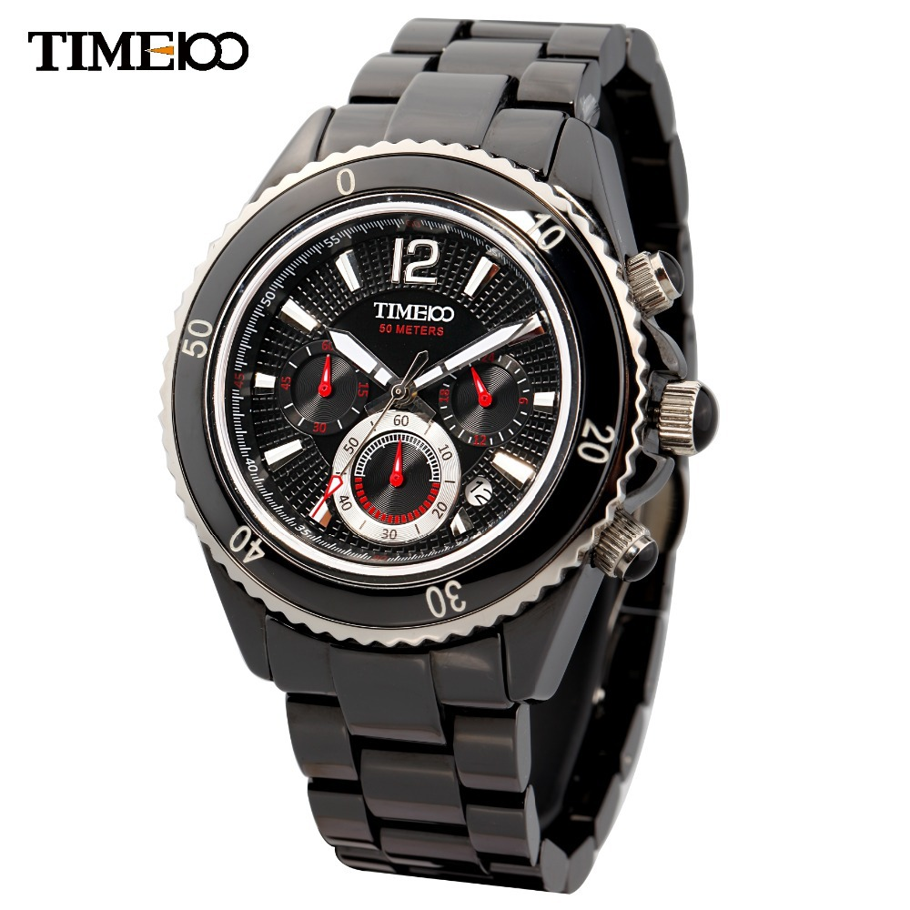 New TIime100 Mens Multifunction Three-subdial Sapphire Mirror Ceramic Black Dial Watch#W70040G.01A<br><br>Aliexpress
