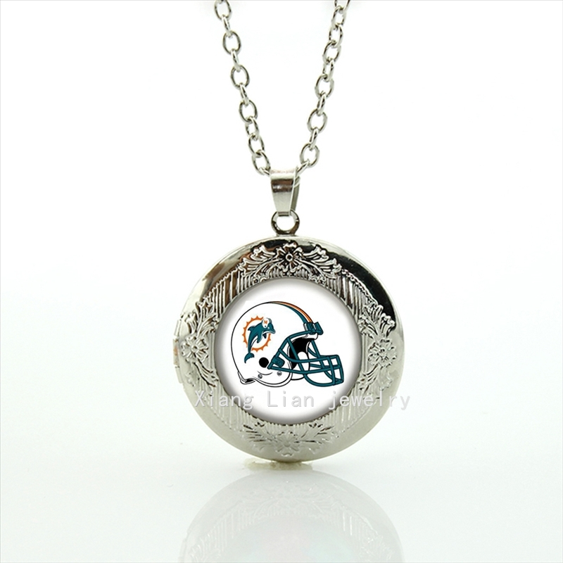 Cool ball fan jewelry dolphin helmet locket necklace Miami Dolphins team Newest mix 32 NFL team Souvenirs jewelry gift NF144(China (Mainland))