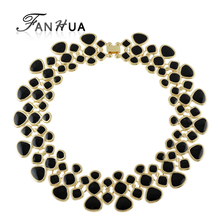 Statement Necklaces Collares 2016 Gold Color Black Blue Purple Green Enamel Maxi Collar Choker Necklaces For Women(China (Mainland))