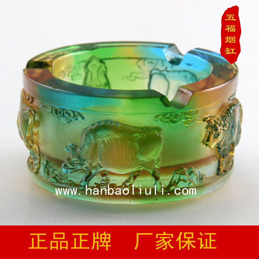 Glass Decoration Business glass ashtray Five Treasure of Five Cattle lettering service desk ornaments creative healing(China (Mainland))