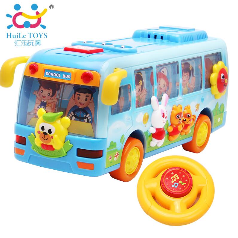 Original Huile Toys Kids Toy Electric Shaking Musical School Bus With Flashing Lights, Bump and Go Car Baby Toys(China (Mainland))
