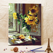 Frameless diy oil painting Window sill sunflower acrylic paint wall painting from the digital unique gifts Home Decor(China (Mainland))