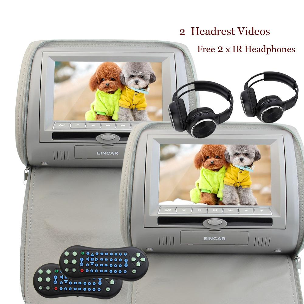 Car DVD/Multimedia Headrests Video Player with 2 x IR Infrared Headphones Remote Control support FM Transmitter (Color Optional)