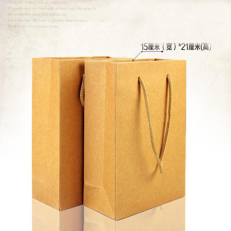 30pcs/lots 15cm*21cm+7cm High Quality Paper Shoping Bag Drawstring Pouch Bags Of Handles Kraft Packaging(China (Mainland))