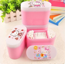 Sweet Pink Hello Kitty Storage Box with Cotton Swab & Cotton Pads Makeup Cotton Stickers Ear Cleaning Cotton Buds K6436(China (Mainland))