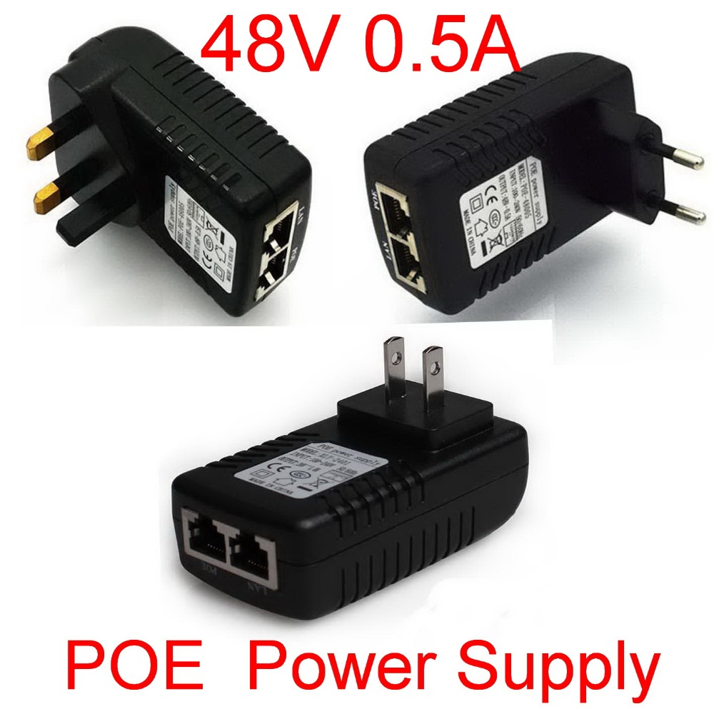 High Quality 1pcs Surveillance CCTV Security 48V 0.5A POE Wall Plug POE Injector Ethernet Adapter IP Camera Power Supply(China (Mainland))
