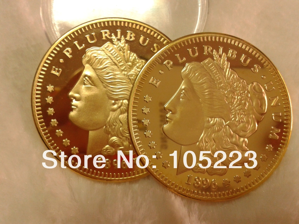 Iron with 24K fine gold Free Shipping 5PCS Morgan coin Year 1896, 100 MILLS.999 Gold-Plated American eagle coin,souvenir coin(China (Mainland))