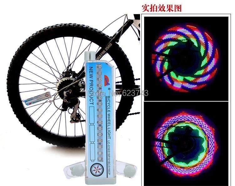 FreeShipping 10PCS Colorful Rainbow Wheel Signal Lights LED bike wheel light 32 LED 32-pattern double-sided,LED Bike Spoke light(China (Mainland))