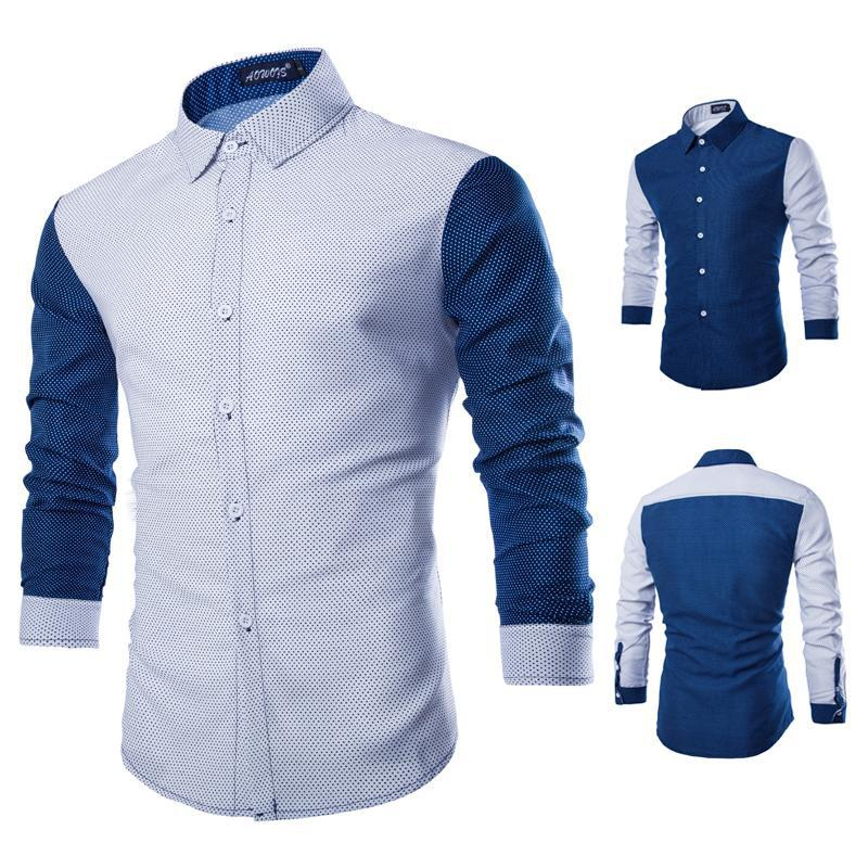 2015 new arrival summer style men shirt fashion patchwork for Blue and white long sleeve shirt