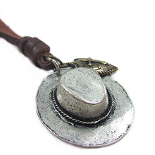 Hot sale 100% genuine leather women pendant necklace with cowboy hat punk style vintage necklace jewelry for men free ship NX-72