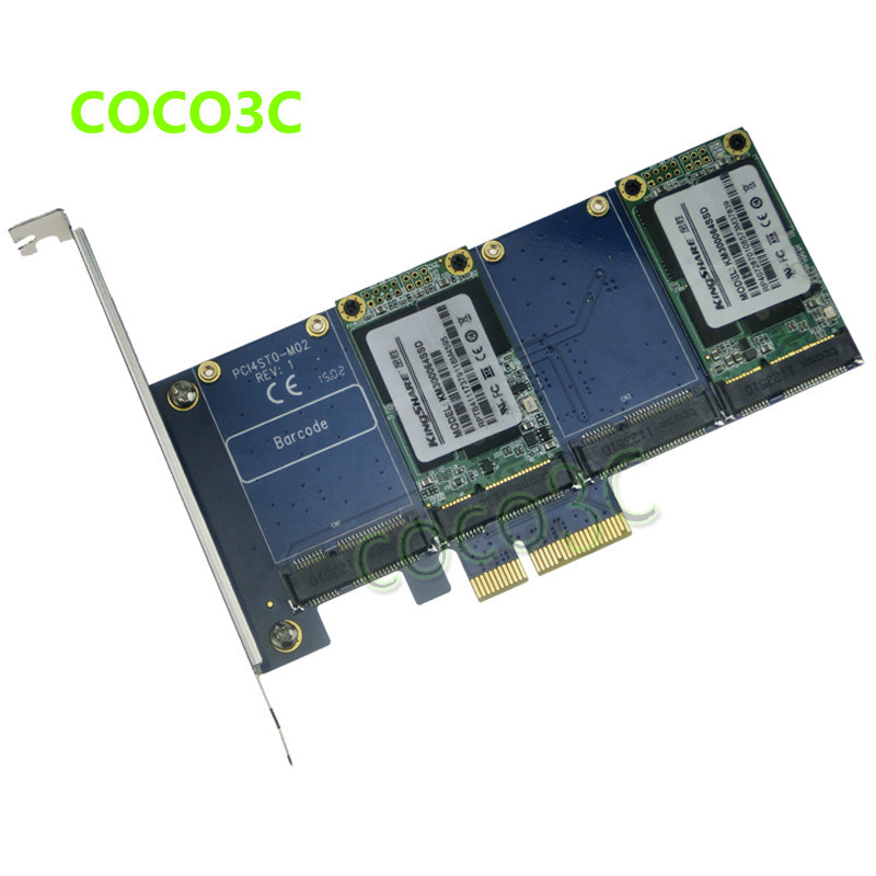 Quad mSATA SSD to PCI-e Controller Card RAID 0 1 10 Marvell HyperDuo PCI express flash solutions accelerates databases(China (Mainland))