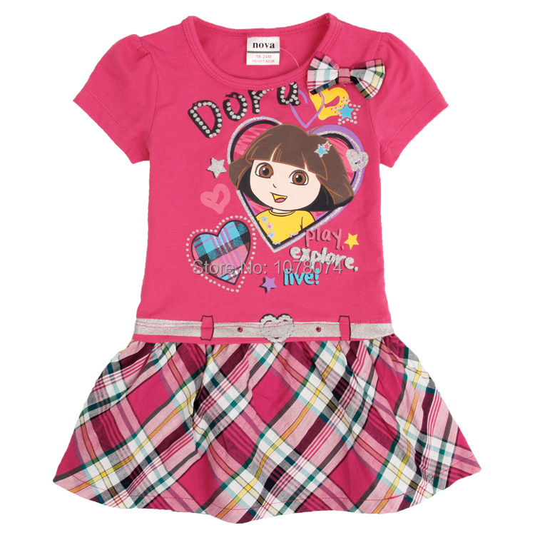 Children Clothes Baby Girls Dresses Hot Summer Printed Lovely Dora Cartoon Cotton Nova Brand Beautiful Baby Girls Dresses(China (Mainland))