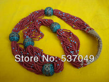 Tibetan Jewelry Handmade Long Coral & Turquoise Women's Necklace (15000131)(China (Mainland))